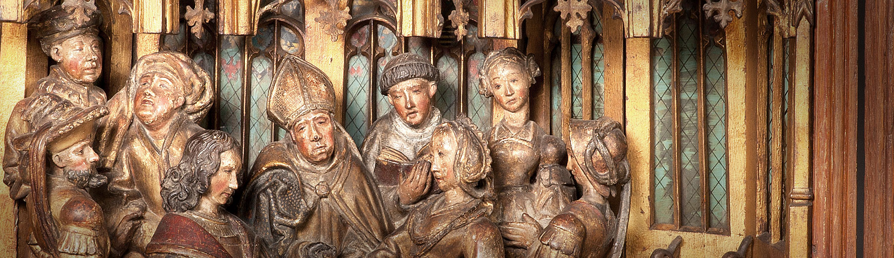House altarpiece with the marriage of Anna and Joachim (?), polychromed oak, Antwerp (?), ca. 1520  (copyright: M - Museum Leuven | photography: Paul Laes)